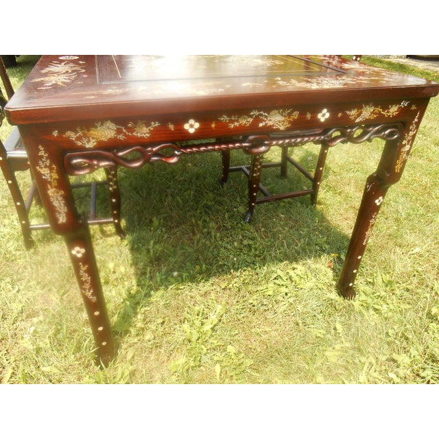 Mother of Pearl Inlay Asian Dining Set - Image 7 of 11