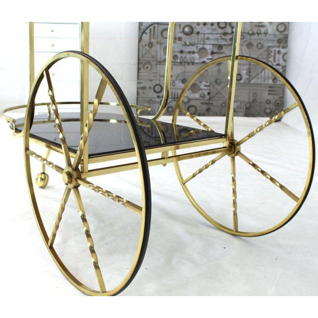 Metal 1970s Mid-Century Modern Brass Tortoise Finish Glass Bar Serving Cart For Sale - Image 7 of 8