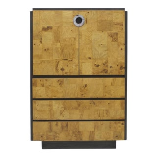 Burl Wood and Charcoal Grey Tall Cabinet or Drybar For Sale