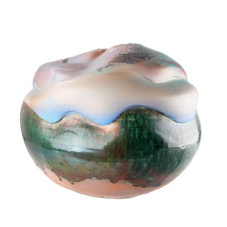 Mid-Century Modern Large Spherical Drip Glazed Art Pottery in Green, White, Pink For Sale