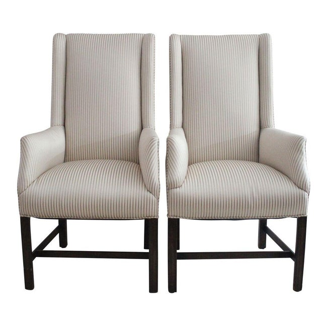 Upholstered Wingback Chairs - Pair - Image 1 of 3