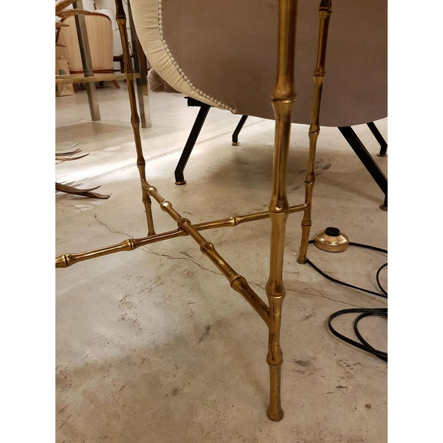 French Faux Bamboo Brass Mid Century Modern Side Table, C 1960s For Sale - Image 4 of 6