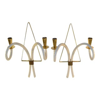 1940s French Brass and Galalith Appliques Sconces - a Pair For Sale