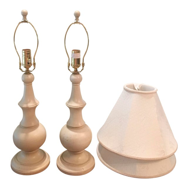 Ethan Allen Shabby Chic Table Lamps - A Pair - Image 1 of 4