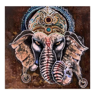 """Patrick Briggs 'Baba Ganesh""""' 2021 Acrylic Painting on Wooden Ming Side Table For Sale"""