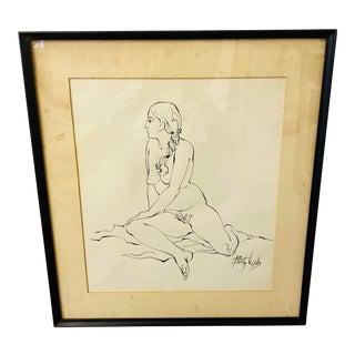 Vintage Nude Lady Ink Drawing Signed Unframed For Sale