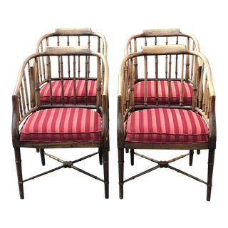 Vintage Faux Bamboo Club Chairs - Set of 4 For Sale