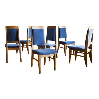 Set of Six Guillerme Et Chambron Dining Chairs in Oak, France, 1960 For Sale