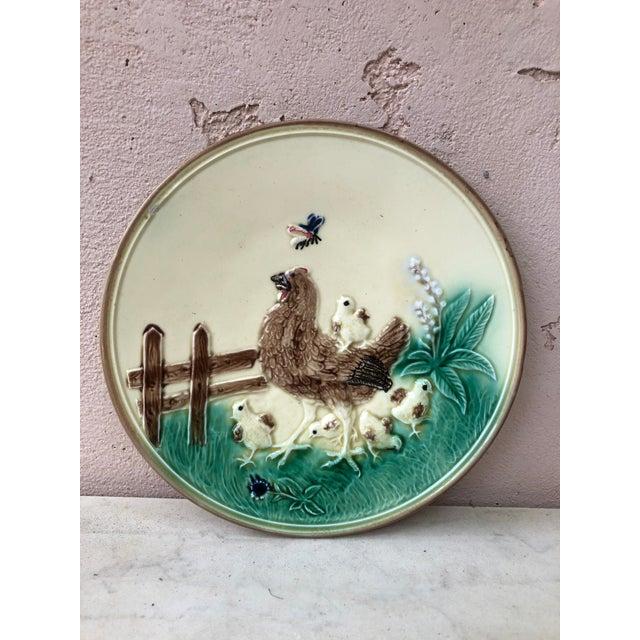 German Majolica Hen & Chicks Wall Plate Circa 1900 For Sale - Image 4 of 4