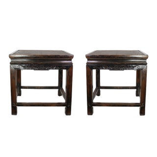 19th Century Antique Hand Carved Chinoiserie Wooden End Tables or Nightstands - a Pair For Sale