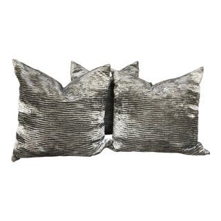 Modern Kravet Fabric Grey Velvet Pillows - Set of 3 For Sale