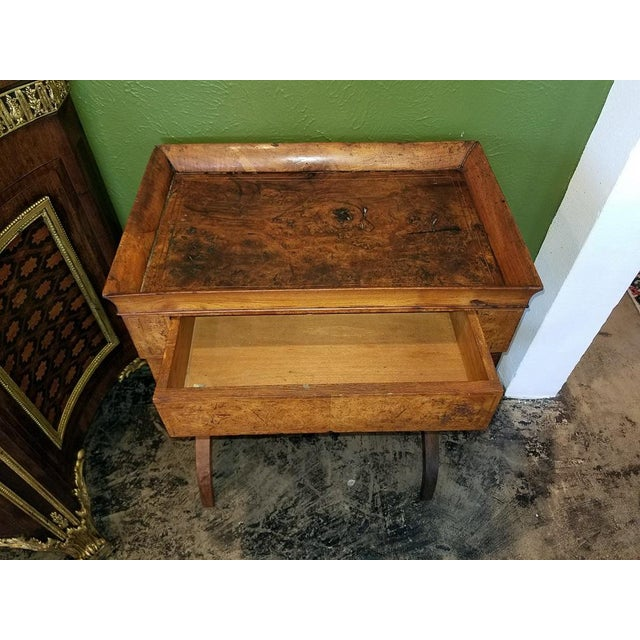 Mid 18th Century 18c French Provincial Burl Walnut Lyre Work Table For Sale - Image 5 of 13