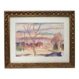 Image of Vintage Mid Century Modern Watercolor Landscape For Sale