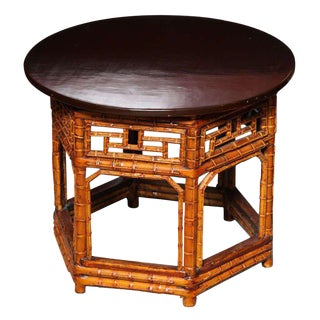 19th Century Chinese Hexagonal Bamboo and Black Lacquered Wood Side Table For Sale