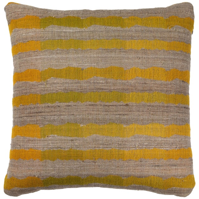 Indian Handwoven Pillow Ocean Stripe Yellow For Sale In Los Angeles - Image 6 of 6
