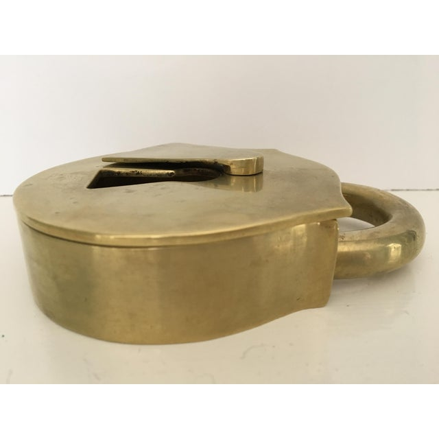 Metal Mid-Century Virginia Metalcrafters Solid Brass Padlock Ashtray/Catchall For Sale - Image 7 of 13