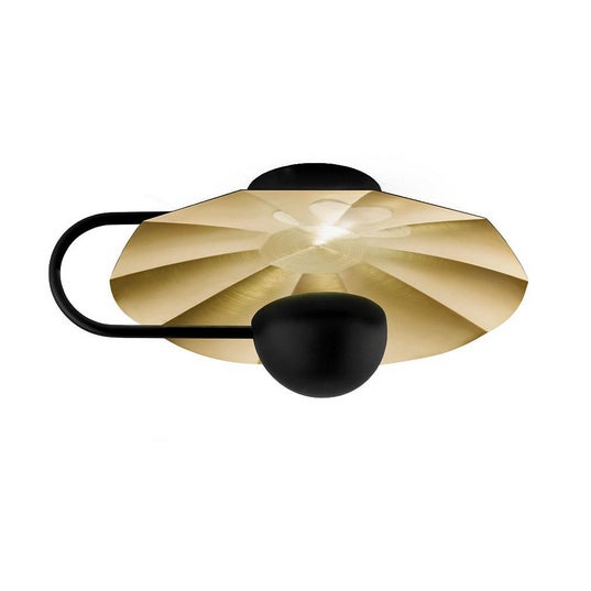 """Large Reflector Wall Light in Brushed Brass With Satin Black (19.7"""") For Sale - Image 4 of 8"""