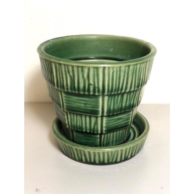 """Mid 20th Century McCoy Pottery Small """"Green"""" Mid-Century Flowerpot and Saucer For Sale - Image 5 of 10"""