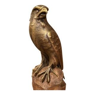 19th Century French Carved Bronze Eagle Sculpture on Stone Base For Sale