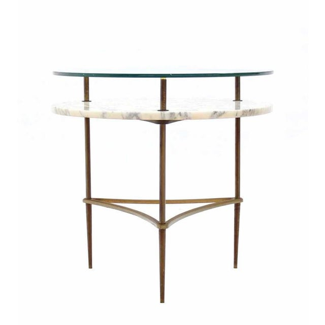 Brass Two Tier Brass Marble & Glass Top Occasional Table For Sale - Image 7 of 7