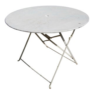 Vintage Large Iron French Country Rustic Folding Round Table For Sale