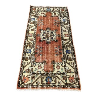 1960s Vintage Turkish Oushak Rug - 2′8″ × 5′7″ For Sale