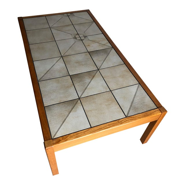 Vintage Mid-Century Danish Modern Tile Top Coffee Table by Gangso Mobler For Sale