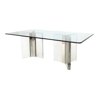 Glamorous Hollywood Regency Lucite & Chrome Dining Table in the Manner of Pace