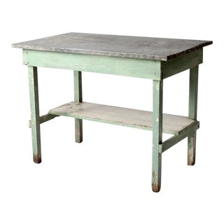 Antique Table With Galvanized Top For Sale
