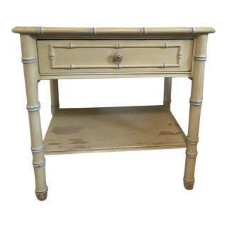1960s Regency Thomasville Faux Bamboo Nightstand For Sale