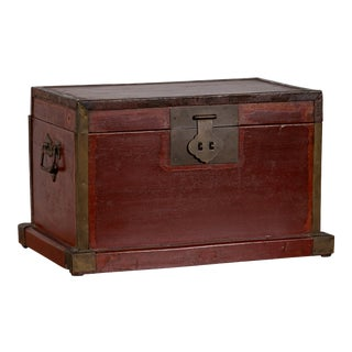 Chinese 19th Century Red Lacquered Treasure Chest Box with Brass Hardware For Sale