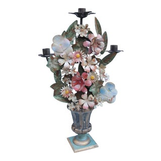1920s Vintage French Tole Floral Topiary Candelabra Candlestick With Tin Flowers For Sale