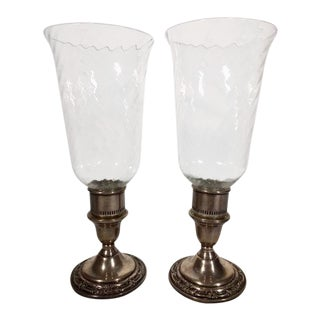 1950s International Wild Rose Sterling Silver Candleholders - a Pair For Sale