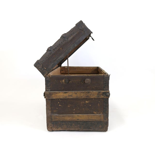 Large Antique Hardwood Steamer Trunk For Sale - Image 4 of 11