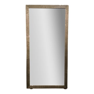 Interlude Home Modern Gray Lacquer Finished Maple Wood Floor Mirror For Sale