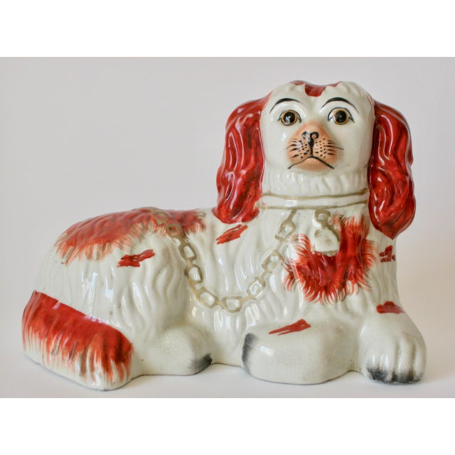 Orange Vintage Mid-Century Staffordshire Style Spaniel Figurines - A Pair For Sale - Image 8 of 10