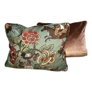Chinese Hunt Scene Pillows - A Pair For Sale