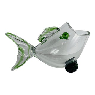 Mid-Century Modern Clear & Green Art Glass Big Mouth Fish Bowl Vase For Sale