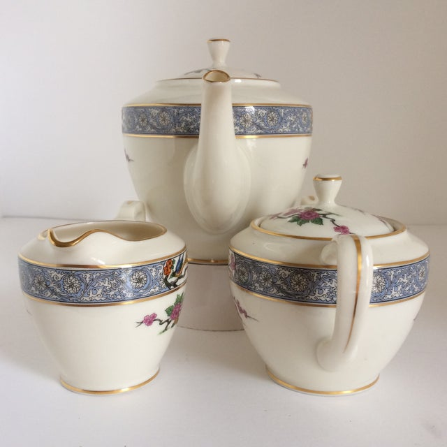 "Asian Teapot with Creamer and Sugar ""Ming"" with Bird by Lenox - Set of 3 For Sale - Image 3 of 11"