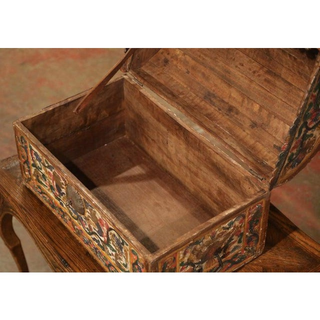 18th Century German Gothic Painted Decorative Bombe Box Wedding Trunk For Sale - Image 11 of 13