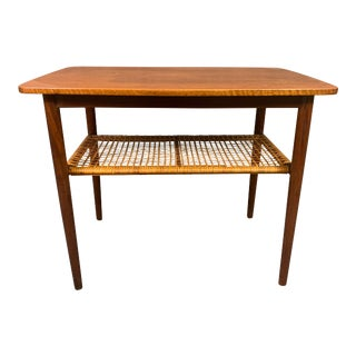 Vintage Danish Mid Century Modern Teak and Cane End Table For Sale
