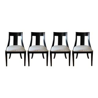 Modern Black Splat-Back Dining Chairs- Set of 4 For Sale