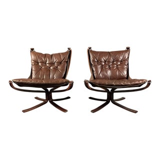 Pair Sigurd Ressell Low-Back Falcon Chairs, Norway 1970s For Sale