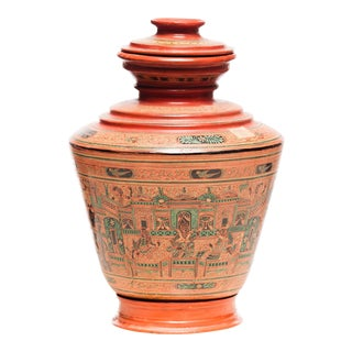 Antique Burmese Lacquer Ginger Jar For Sale