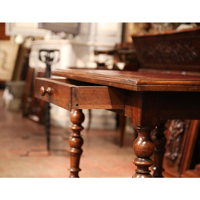 Animal Skin 19th Century, French, Louis XIII Carved Walnut Table Desk With Red Leather Top For Sale - Image 7 of 11