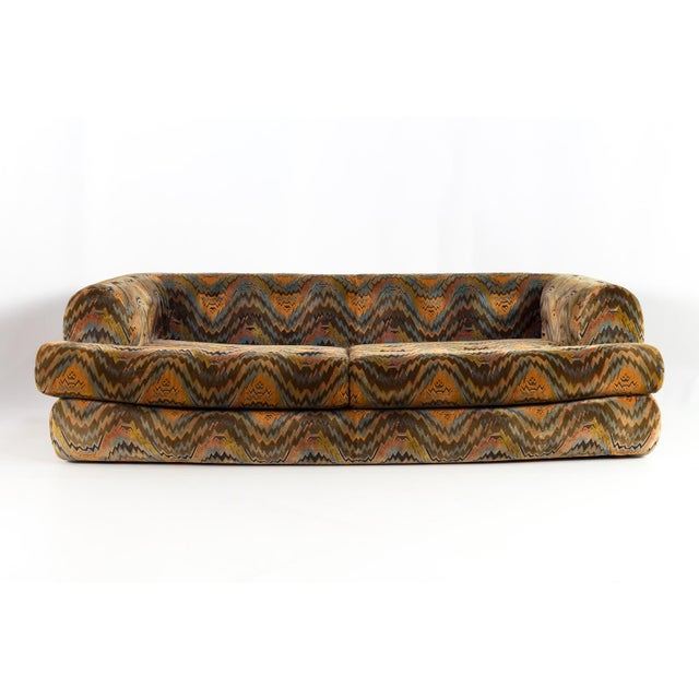 Milo Baughman for Thayer Coggin Mid Century Modern Sofa with Jack Lenore Larsen Style Fabric 94 long x 46.5 deep x 26.5...