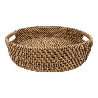 Boho Chic Vintage Wicker Rattan Round Serving Tray For Sale