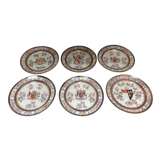 French Chinese Export Style Armorial Plates - Set of 6 For Sale