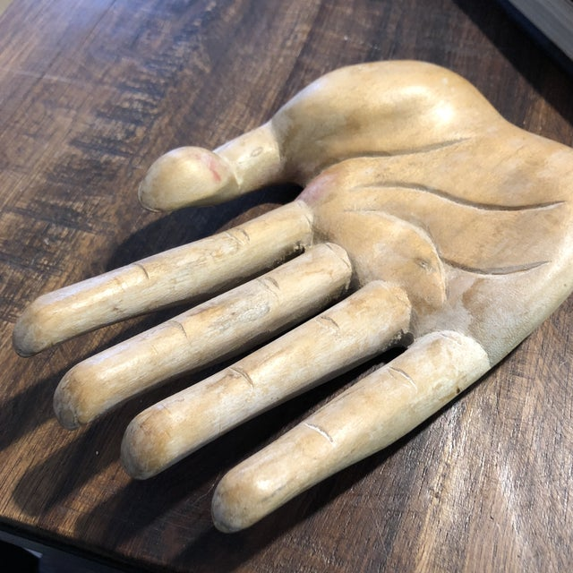 Boho Chic Vintage Bohemian Carved Wood Human Hand Sculpture For Sale - Image 3 of 7