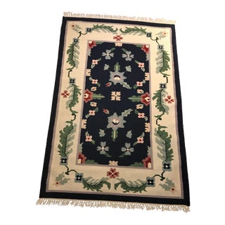 Wool Dhurrie Floral Pattern Rug - 4' x 6' For Sale